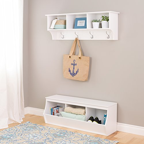 """Prepac 46"""" wide Triple Storage Cubby and Wall Mounted Coat"""