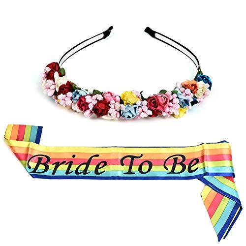 Wedding Supplies Neon Bride to Be Shoulder Strap Etiquette Sash Flower Garland for Bachelorette Party Favor (neon)