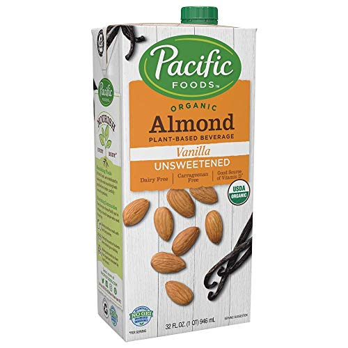 (Pacific Foods Organic Unsweetened Almond Vanilla Plant-Based Beverage, 32oz, 12-pack)