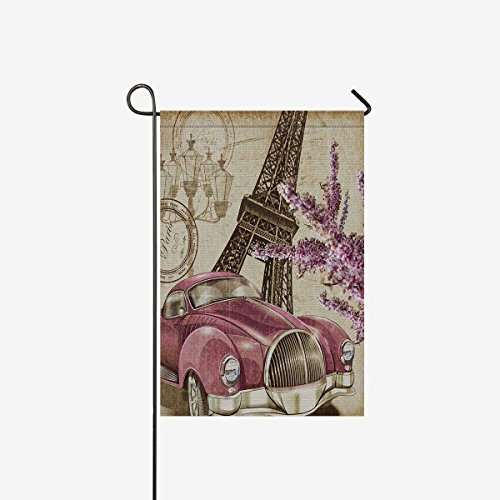 InterestPrint Paris Vintage Poster Eiffel Tower Retro Car an