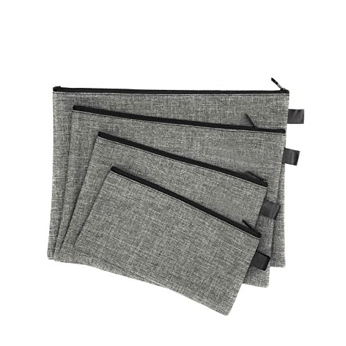 Utility Zipper Bags for Cash, Receipts, Paperwork, Cards, 4-Size Bags (Gray)