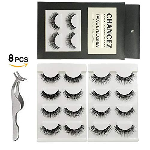 3D Fake Eyelashes 8 Pairs Hand-made Cruelty-Free Long False Lashes with Volume 2 Style Reusable Natural Fake Lashes with Tweezers By CHANCEZ