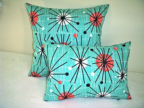 Atomic Pillow Cover Reproduction Eames Era Mid Century Starburst Turquoise Orange White Orbs Black Spokes 51s4Ma7LLDL