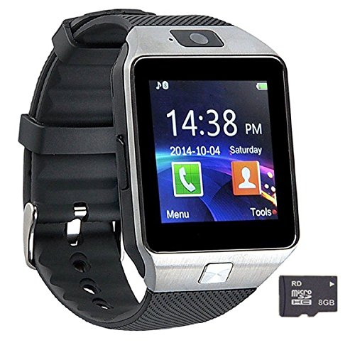 Pandaoo Smart Watch Mobile Phone DZ09 Unlocked Universal GSM Bluetooth 4.0, 32GB Storage, Music Player, Camera, Calendar, Stopwatch Sync with Android Smartphones - Silver