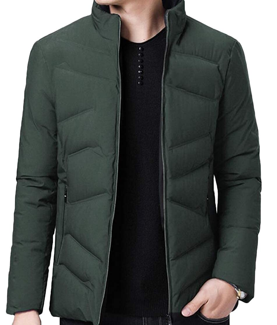 Rrive Men Quilted Winter Full Zipper Stand Collar Down Jacket Coat