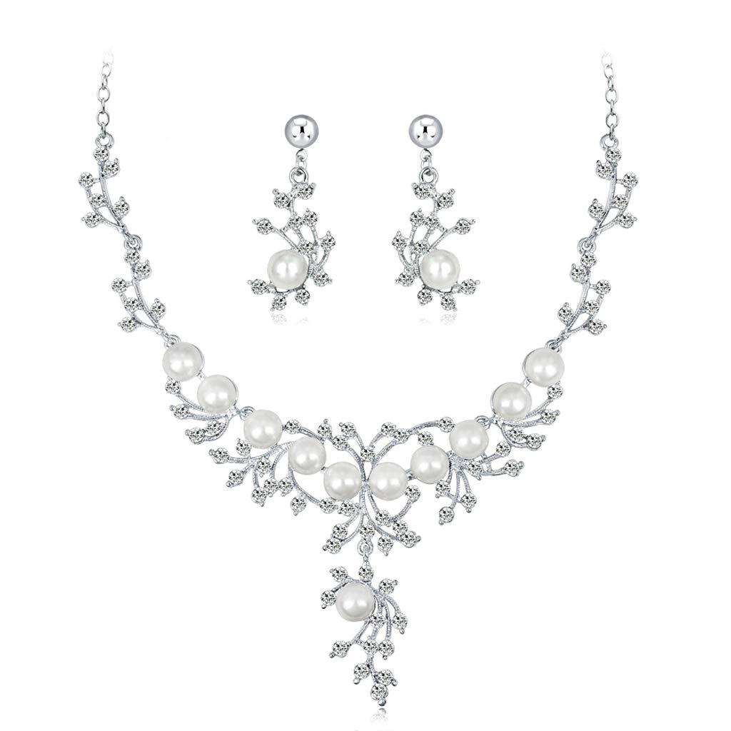 Kofun Ensemble De Bijoux De Mariage Femmes, 1 Set Halskette Ohrringe Floral Hochzeitsgeschenke Braut Schmuck Frauen Imitation Pearl model