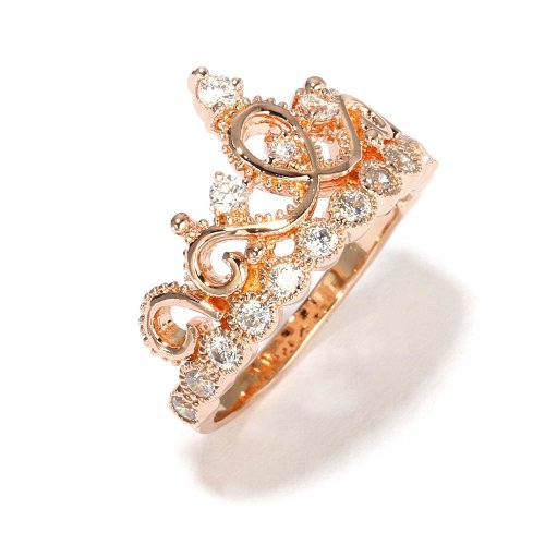 Sterling Silver Crown Ring Princess Ring Rose Gold