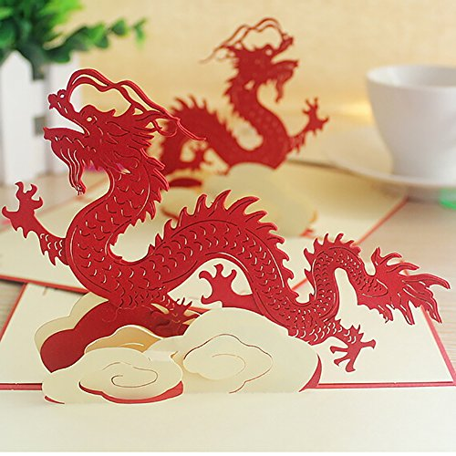 Sizet Pop-Up Chinese Dragon 3D Greeting Cards (Chinese Tree Dragon)