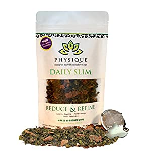 Daily Slim by Physique Tea | Natural Slimming & Weight Management Blend for Appetite Suppression Weight Loss and Increased Energy - Strainer Included (15 Day Supply)