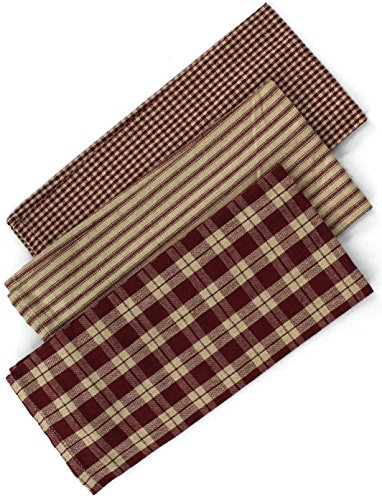 Rustic Covenant Woven Cotton Farmhouse Kitchen Tea Towels, 22 inches x 13 inches, Set of 3, Burgundy Red/Natural Tan (Checkered Kitchen)