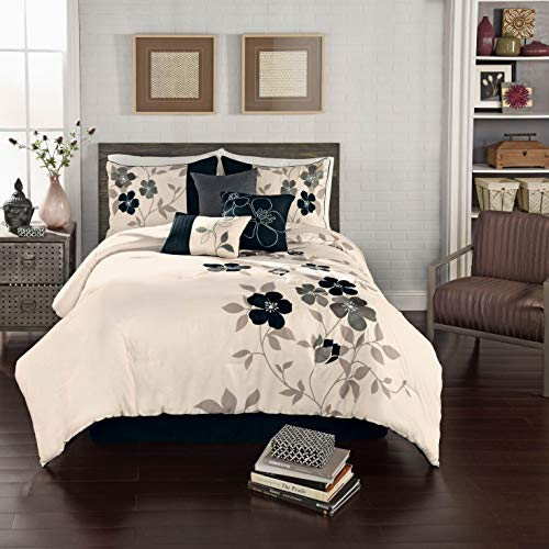 (7 Piece Luxury Comforter/Bedding Set with Cushion, Shams, and Bedskirt (Queen, Embroidered)