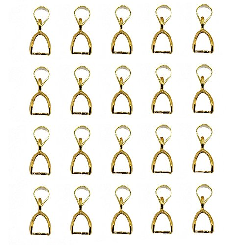 BARGAIN HOUSE 20 sheets 10 mm gold pendant pinch bail connector clasp jewelry making