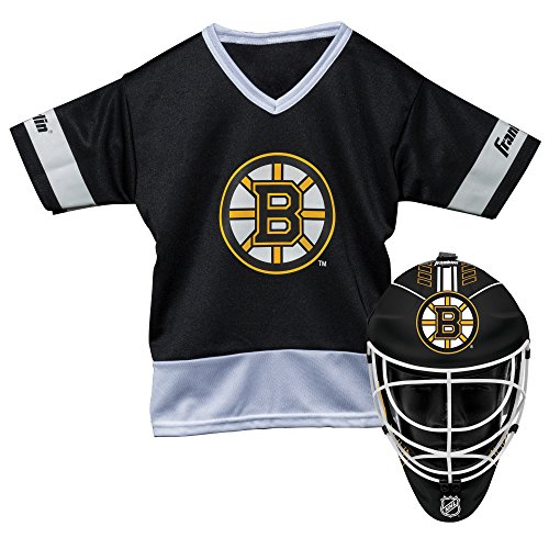 - Franklin Sports Boston Bruins Kid's Hockey Costume Set - Youth Jersey & Goalie Mask - Halloween Fan Outfit - NHL Official Licensed Product