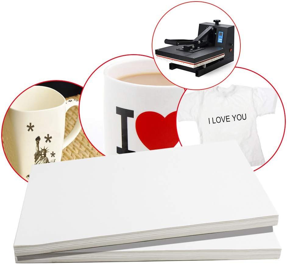 Enshey - 100 hojas A4 de papel de transferencia de calor por sublimación de tinte para taza, taza, plato, camiseta de poliéster y algodón: Amazon.es: Juguetes y juegos