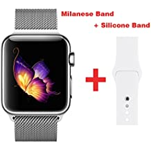 Greatou Band for Apple Watch Series 1 / 2 / 3,Milanese Mesh Stainless Steel Loop Wrist Strap Replacement Band with Adjustable Magnetic Closure & White Silicone Band for iwatch,42mm,Silver