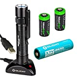 OLIGHT S20R rechargeable XM-L2 550 Lumens LED Flashlight with type 18650 Li-ion battery, charging base with two EdisonBright CR123A Lithium back-up batteries