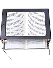 [EASYLEE] A4 Full Page 3X Reading Magnifying Glass ( PVC Fresnel lens ) with 12 LED Lights, Handheld or Hands Free Magnifier, PVC Fresnel Lens with Stand & Lanyard - Large A4 Sheet Illuminated Vision Aid for Books, Newspapers, USB or Battery