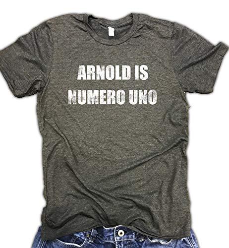 Arnold is Numero Uno Unisex Tee - Workout Shirt - Mens Gym Shirt - Arnold Shirt - Lifting Shirt Gray
