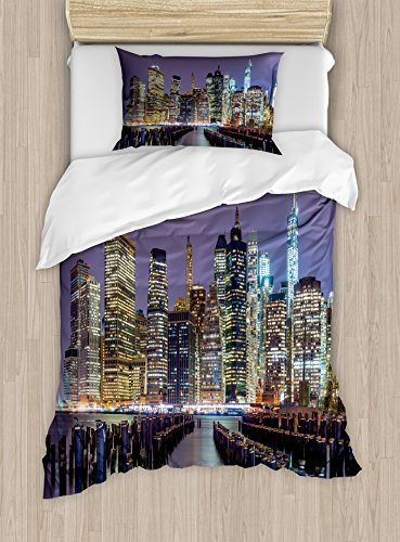 Manhattan Polyester Cover Duvet - Lunarable New York City Duvet Cover Set Twin Size, Lower Manhattan Skyline from Across The East River United States of America, Decorative 2 Piece Bedding Set with 1 Pillow Sham, Lilac Yellow