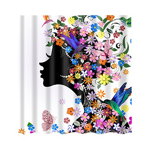 Jili Online Various Shower Curtain Bathroom Water Resistant Polyester Fabric Drapes Multichoice - Flower Girl, 180x 180cm (Shower Curtain Various)