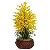 SKB Family Large Dancing Lady W/Round Vase Silk Arrangement Natural Home Decor Yellow Floral Elegance