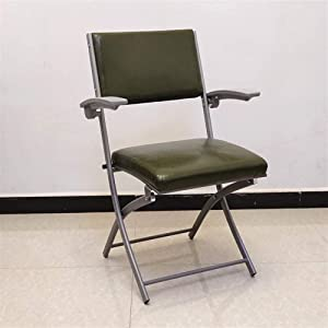 DFVV Chair Simple Modern Folding Chair Portable Training Chair, Space-Saving Black Computer Chair Over Load-Bearing Office Chair, Ergonomic Coffee Chair (Color : Army Green+armrest)