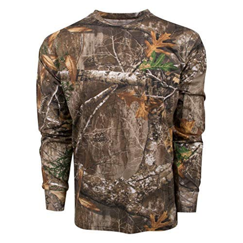 King's Camo Classic Cotton Long Sleeve Tee Shirt Realtree Edge (Large, Realtree Edge)