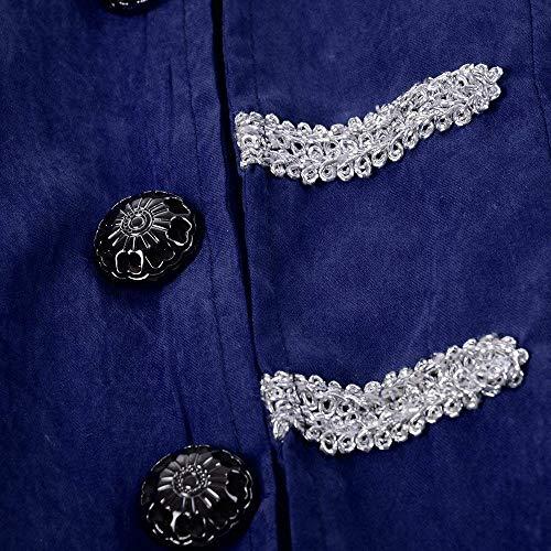 Collo Retro Uomo Per Mantello Steampunk A Coat Blau Manica Girocollo Battercake Uniforme Giacca Tuxedo Da Cosplay Lunghezza Lunga Mezza Comodo wtfEnIq