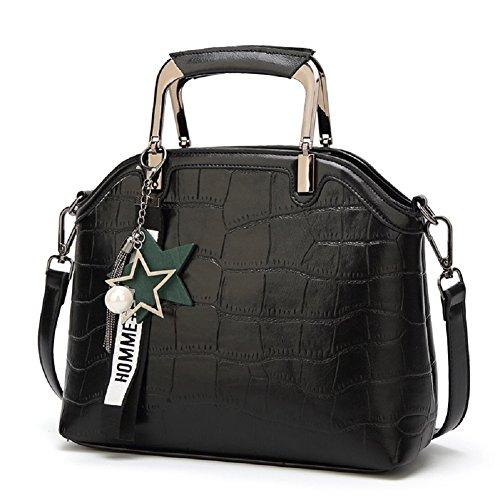 SYGoodBUY Bolso cruzado del bolso de la mujer del cuero de la vendimia Bolso grande elegante de la capacidad con la estrella (Color : Rojo, tamaño : Un tamaño) Negro