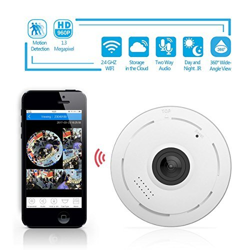 360 Degree Fisheye Panoramic IP Camera 1.3 Megapixel 960P Wireless Wifi 2.4GHZ Security Camera Super Wide Angle Support IR Night Motion Detection Keep Your Pet & Home Safe by UPADALWAYS TECHNOLOGY INC.