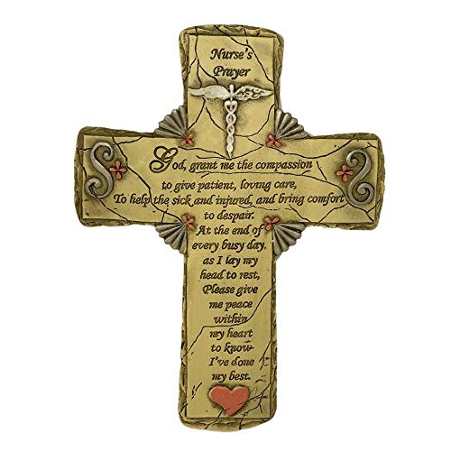 BANBERRY DESIGNS Nurse Cross with Caduceus and Nurse's Prayer Stone Look Resin - Aproximately 8 1/2