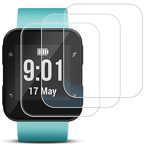 AFUNTA Screen Protector Compatible Garmin Forerunner 35, 3 Pack Tempered Glass Film Anti-Scratch High Definition Full Coverage Cover for Smartwatch