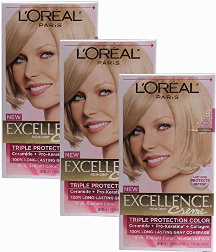 L'oreal Paris Excellence, Permanent Hair Color, Light Natural Blonde 9 (Pack of 3)