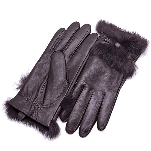 hscreen Lambskin Leather Gloves Rabbit Fur Cuff and Hand Warm Flecce Lined Heated Lining Stylish Real Luxury for Ladies Winter Accessories Work Dress Driving Xmas Gifts, Brown XXL (Deer Genuine Leather Lace)