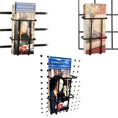 Slatwall, Pegboard & Gridwall Black Multi-fit Tri-Fold Pamphlet Literature Holder, 1 Unit by Store Fixtures Direct