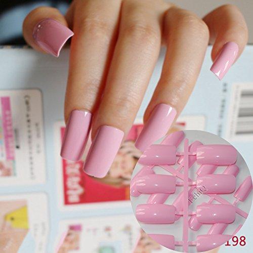24pcs Flat Ultra Long Acrylic Nail Tips Princess Pink Fake Nails Full Wrap Finger Press
