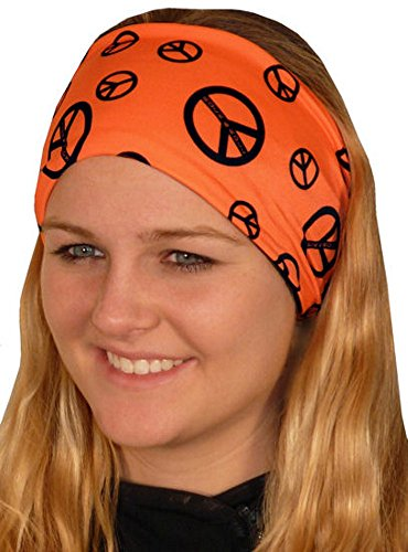 (Headband - Biker, Sport, Yoga, Reversible - Black Peace Signs on Neon Orange)