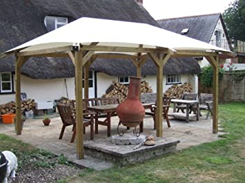 3m x 6m timber gazebo with pvc roof: amazon.co.uk: garden & outdoors
