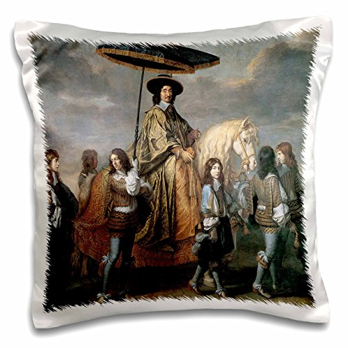 3dRose BLN Horses Fine Art Collection - The Chancellor Seguier by Charles Le Brun - 16x16 inch Pillow Case ()