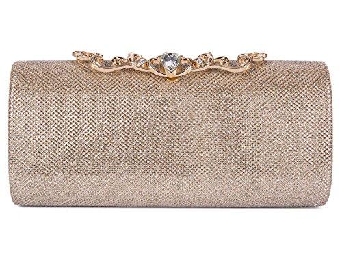 BAIGIO Sparkly Diamante Woven Evening Clutch Bag Luxury Rhinestones for Wedding Party Prom Bridal (Metallic Evening Clutch)