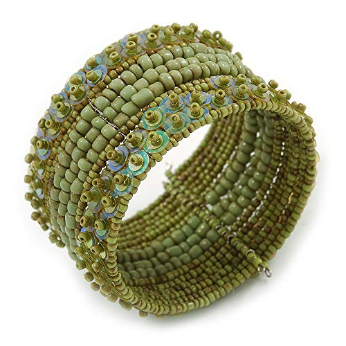 Avalaya Bohemian Beaded Cuff Bangle with Sequin (Lime Green) - Adjustable