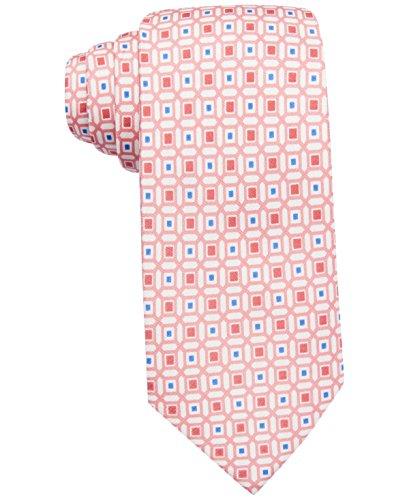Countess Mara Men's Geometric-Print Classic Tie (One Size, Coral) (Tie Geometric Classic)