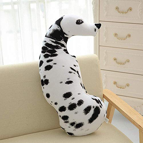 Embroidery Dalmatian (3D Simulation Puppy Dog Dalmatian Plush Pillow Soft Stuffed Animal Play Doll Baby Hugging Toy Sleeping Bolster Pet Throw Pillow Bed Sofa Nap Cushion Nursery Office Decor Gift for Friend)