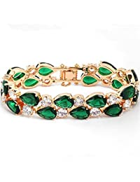Buckle Bracelet Gold Plated Green Cubic Zirconia for Women Party Jewelry 19cm