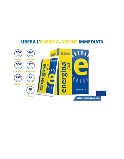 Energina Fast 16 bustine Potassio 700 mg Magnesio 375 mg Creatina 600 mg Carnitina 500 mg