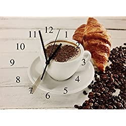 Coffee Wall Clock - Square Canvas Wall Clock with Cappuccino Coffee Printed on it - Coffee Decor