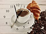 Kitchen Decor Theme Ideas Coffee Wall Clock - Square Canvas Wall Clock with Cappuccino Coffee Printed on it - Coffee Decor