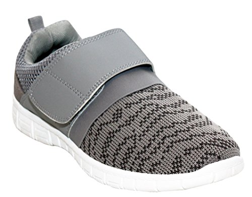 Ladies Womens Lightweight Touch Fastening Breathable Mesh Canvas Girls Running Sports Gym Trainers Pumps Shoes UK Sizes 3-8 Grey 3RyYSFThQU