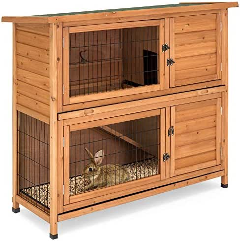 Best Choice Products 48x41in 2-Story Outdoor Wooden Pet Rabbit Hutch Animal Cage for Backyard, Garden w/Ladder