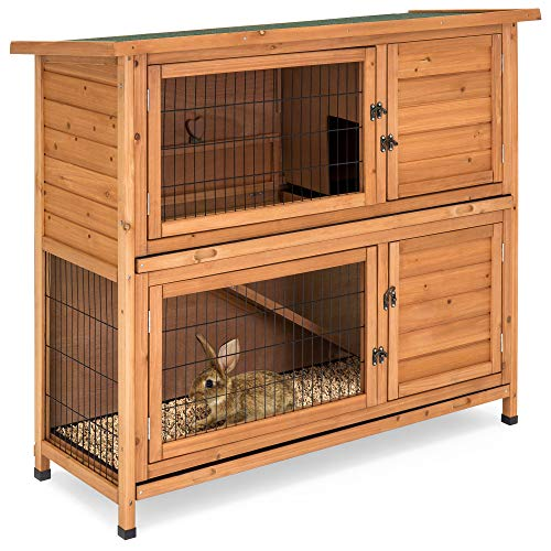 (Best Choice Products 48x41in 2-Story Outdoor Wooden Pet Rabbit Hutch Animal Cage for Backyard, Garden w/Ladder - Brown)